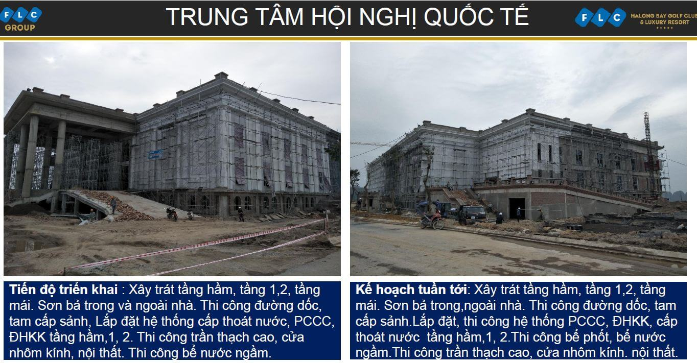 Tiến độ trung tâm hội nghị quốc tế dự án FLC Condotel Hạ Long